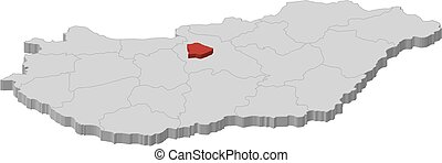 Map - Hungary, Budapest - 3D-Illustration - Map of Hungary...