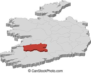 Map - Ireland, Limerick - 3D-Illustration - Map of Ireland...