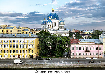 View of the Fontanka river and Trinity Cathedral from the...