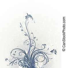 Floral Background - Vector illustration of Grunge Floral...