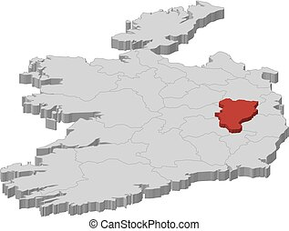 Map - Ireland, Kildare - 3D-Illustration - Map of Ireland as...
