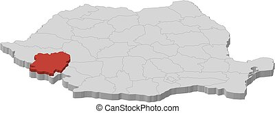 Map - Romania, Caras-Severin - 3D-Illustration - Map of...