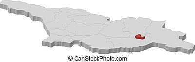 Map - Georgia, Tbilisi - 3D-Illustration - Map of Georgia as...