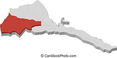 Map - Eritrea, Gash-Barka - 3D-Illustration - Map of Eritrea...