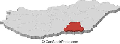 Map - Hungary, Csongrad - 3D-Illustration - Map of Hungary...