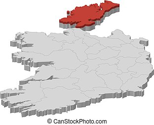 Map - Ireland, Donegal - 3D-Illustration - Map of Ireland as...