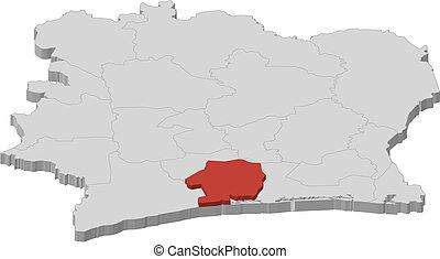 Map - Ivory Coast, Sud-Bandama - 3D-Illustration - Map of...
