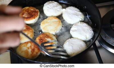 Frying cheese pancakes - Frying Cottage cheese pancakes for...