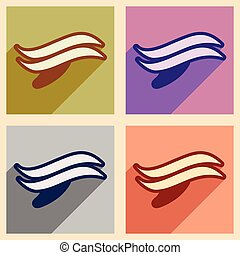 Set flat icons with long shadow whales logo