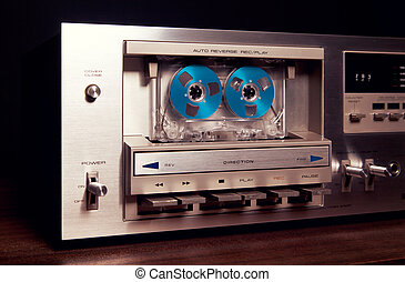 Vintage stereo cassette tape deck player recorder front...
