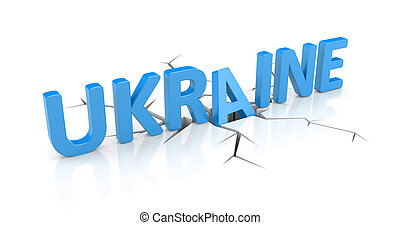 Fall of the Ukraine - Conceptual 3d image. Political...