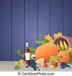 Fresh Vegetables Food Wine Fruit Set Over Wooden Background...