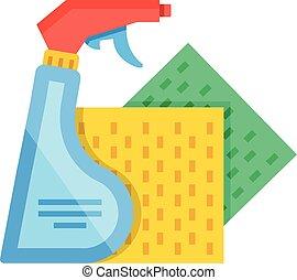 Vector spray bottle, sponge cloths - Detergent spray bottle...