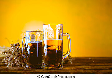 Beer concept with yellow background