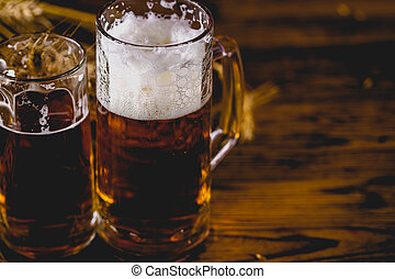 Beer, party concept, wooden table