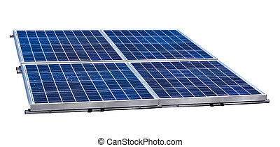 Solar panels - Group of four solar panels on white...