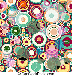 Abstract seamless pattern with colorful balls and rings...