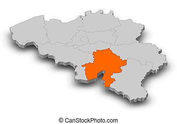 Map - Belgium, Namur - 3D-Illustration - Map of Belgium as a...