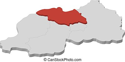 Map - Rwanda, North - 3D-Illustration - Map of Rwanda as a...