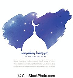 mosque silhouette in blue paint stroke