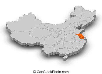 Map - China, Jiangsu - 3D-Illustration - Map of China as a...