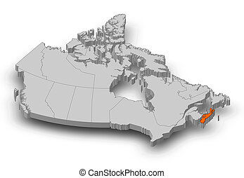 Map - Canada, Nova Scotia - 3D-Illustration - Map of Canada...
