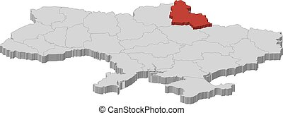 Map - Ukraine, Sumy - 3D-Illustration - Map of Ukraine as a...