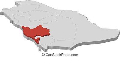 Map - Saudi Arabia, Makkah - 3D-Illustration - Map of Saudi...