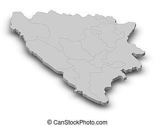 Map - Bosnia and Herzegovina - 3D-Illustration - Map of...