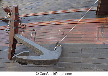 anchor in the hull of an ancient warship - hull of an...