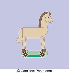 Vintage rocking horse on the purple background. Vector...