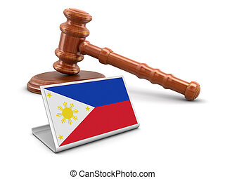 Wooden mallet and Philippine flag - 3d wooden mallet and...