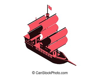 sailing ship - isometric vector design