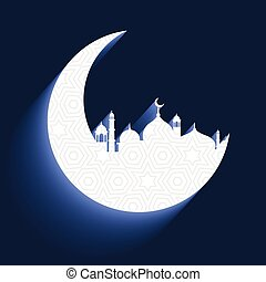 mosque with crescent moon