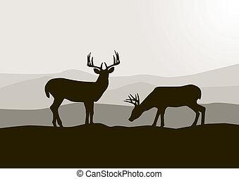 鹿, シルエット, 野生