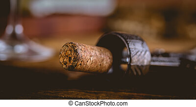 Wine cork, dark background, ambient composition