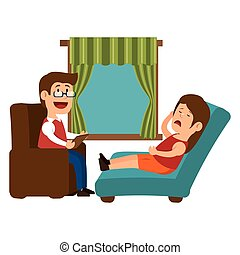 psychology offfice therapist session design vector...