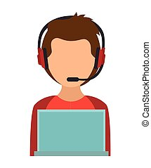 boy character using laptop and headphones vector...