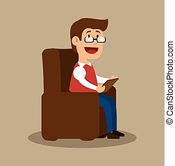 psychology counselor sitting office vector illustration eps...