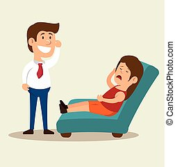 woman cartoon mental counseling therapist vector...
