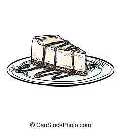 Vector illustration of cheesecake - Hand drawn vector...