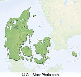 Relief map - Danmark - 3D-Rendering