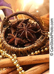 christmas decoration with star anise and organic cinnamon