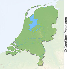Relief map - Netherlands - 3D-Rendering