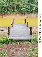 legno, ponte, fiume