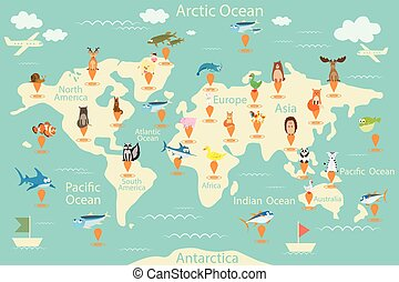 Animals, map of the world. World map for children. Animals poster. Continent animals, marine life. South America, Eurasia, North America, Africa, Australia. Vector illustration.