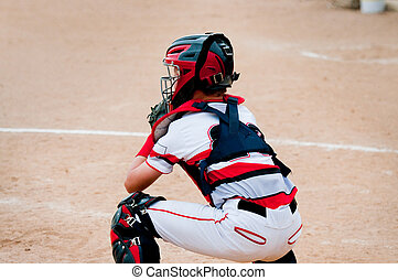 Youth baseball catcher - American little league baseball...