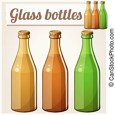 Glass bottles without label. Detailed vector icon