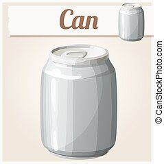 Empty can without label. Detailed vector icon
