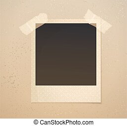 Photoframe on beige background with adhesive tape. Vector...